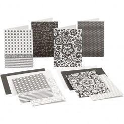 Mønstrede kort / glitter m. kuverte
