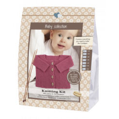 Knitting kit, baby Cardigan Pink