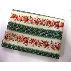 Grøn/rød stribet blomst Patchwork