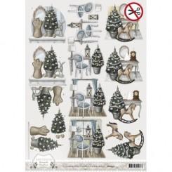 Brocante Christmas 3-D udstanset