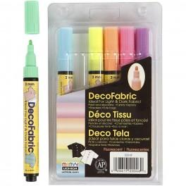 Textil Neon tusser 6 stk