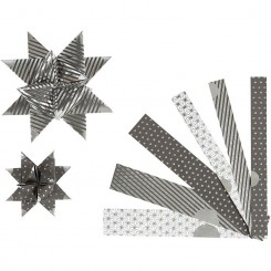 Stjernestrimler 2 str. sølv- sort