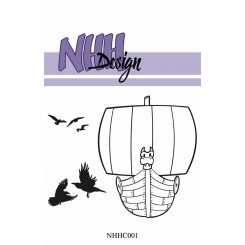 Vikinge skib + fugle stempel