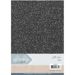 Glitter karton Sort, 6 stk pakke