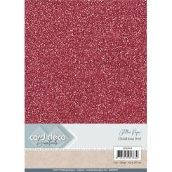 Glitter karton Rød, 6 stk pakke