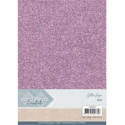 Glitter karton lyserød, 6 stk pakke