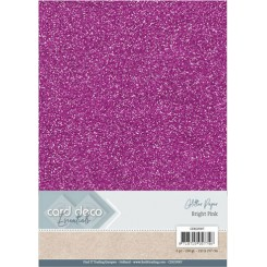 Glitter karton Pink, 6 stk pakke