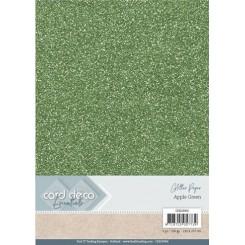 Glitter karton Grøn, 6 stk pakke
