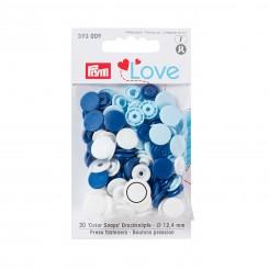 Prym love trykknap, blå/hvid 30stk