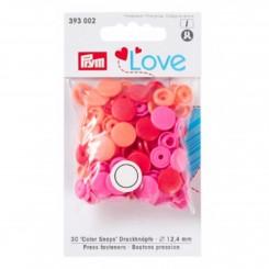 Prym love trykknap, Rød/pink 30stk