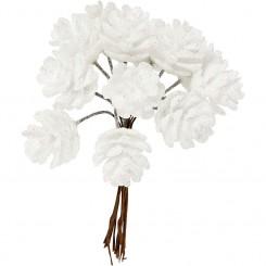 Kunstige kogler hvid, 20 mm 12 stk