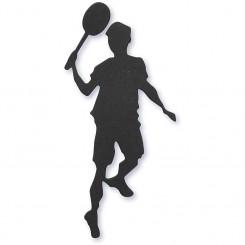 Badminton spiller silhouette sort