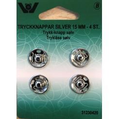 Tryklåse sølv 15 mm x 4 stk