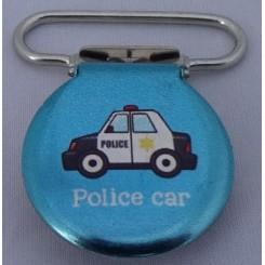 Seleklips rund blå politibil