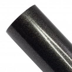 Glittervinyl sort, 30,5 x 100 cm