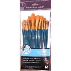 R&L Gold Taklon pensel sæt 12 stk
