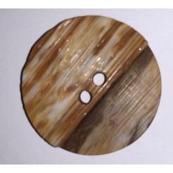 Rund beige halvdelt knap, 3 cm