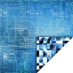 Blå Geometric karton 30 x 30 cm