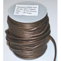 Lædersnor 2 mm x 1 m, Copper