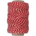 Bomuldssnor rød/hvid 50 m