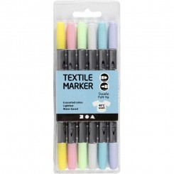 Textil tusser pastelfarver 6 stk