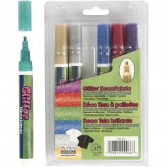 Textil glitter tusser 6 stk