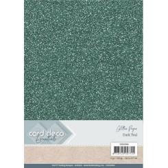 Glitter karton Dark Teal, 6 ark
