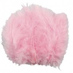 Fjer lyserød Dun, 15 stk 5-12 cm