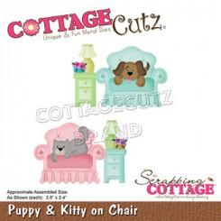 Puppy & Kitty on chair, CottageCutz