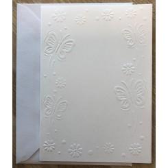 Kort + kuverter A6 Hvid sommerfugle