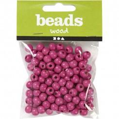 Træperler Pink 8 mm x 15 gram