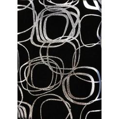 Sølv Snirkler / Sort  50 cm x 55 cm