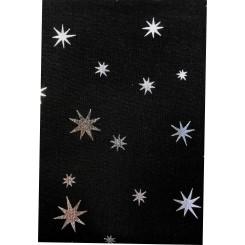 Patchwork 50 x 55 cm Sort / Sølv stjerne