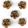 Læder blomster brun 1 cm x 10 stk
