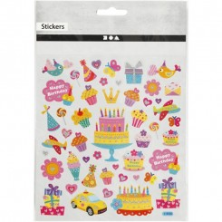 Birthday sticker med glimmer