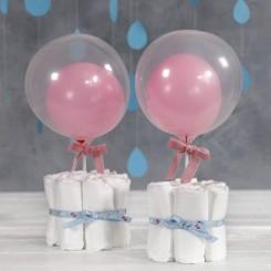 Transperent ballon rund, 10 stk