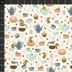 Coffee Bunnies stof 100 x 120 cm