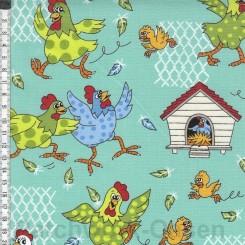 Farm Fun chicken stof 100 x 115 cm