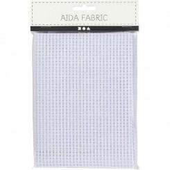 Aida stof 50 x 50 cm hvid 24 tern pr. 10 cm