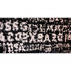 Cotton / Satin print, sort - hvid
